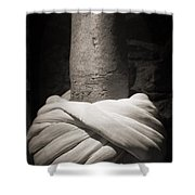 Whirling Dervishes Turban Black And White Shower Curtain