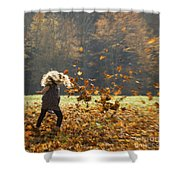 Whirling With Leaves Shower Curtain