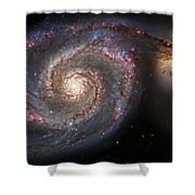 Whirlpool Galaxy 2 Shower Curtain by Jennifer Rondinelli Reilly - Fine Art Photography