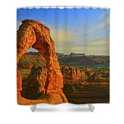 Whispy Clouds Over Delicate Arch Shower Curtain