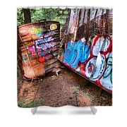 Whistler Train Wreck Covered In Graffiti Shower Curtain