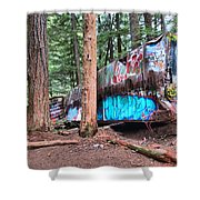 Whistler Train Wreckage Among The Trees Shower Curtain