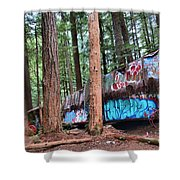 Whistler Train Wreckage In The Trees Shower Curtain