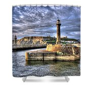 Whitby Harbour On The North Yorkshire Coast Shower Curtain