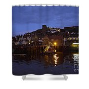 Whitby Lower Harbour And The Rnli Lifeboat Station At Night Shower Curtain