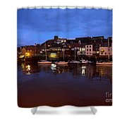 Whitby Lower Harbour At Night Shower Curtain
