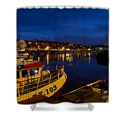 Whitby Upper Harbour At Night Shower Curtain