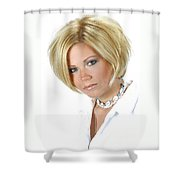White 11-crop Shower Curtain