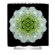 White And Green Begonia Flower Mandala Shower Curtain