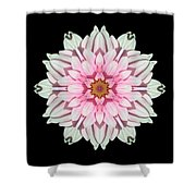 White And Pink Dahlia I Flower Mandala Shower Curtain
