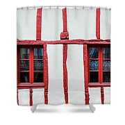 White And Red Half-timbered House Detail Shower Curtain