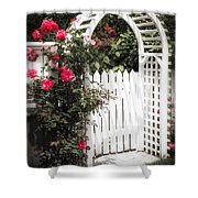 White Arbor With Red Roses Shower Curtain by Elena Elisseeva