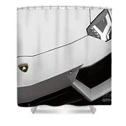 White Aventador Shower Curtain