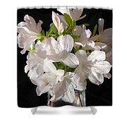 White Azalea Bouquet In Glass Vase Shower Curtain