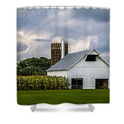 White Barn And Silo With Storm Clouds Shower Curtain