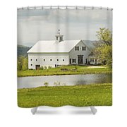 White Barn On Farm In Maine Fine Art Prints Shower Curtain