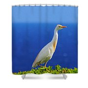 White Bird Green Plants Blue Sea And Sky Shower Curtain