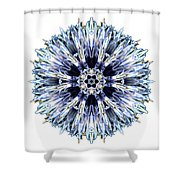 Blue Globe Thistle I Flower Mandala White Shower Curtain