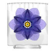 Blue Pansy I Flower Mandala White Shower Curtain