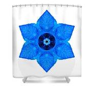 Blue Pansy II Flower Mandala White Shower Curtain
