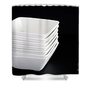 White Bowls On Black Shower Curtain