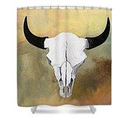 White Buffalo Skull Shower Curtain