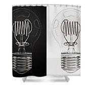 White Bulb Black Bulb Shower Curtain