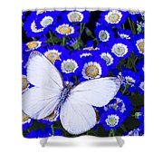 White Butterfly In Blue Flowers Shower Curtain