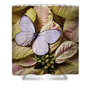 White Butterfly On Poinsettia Shower Curtain