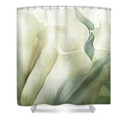 White Calla Moods Shower Curtain