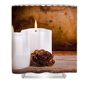 White Candles With Rose Shower Curtain