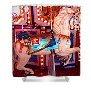 White Carousel Horse Shower Curtain
