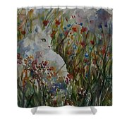 White Cat In Flowers Shower Curtain