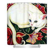 White Cat On A Cushion Shower Curtain