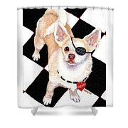 White Chihuahua - Pistachio Shower Curtain