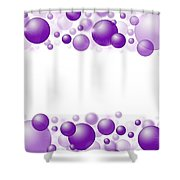 White Christmas Background With Purple Balls. Shower Curtain