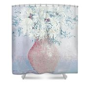 White Chrysanthemums Shower Curtain by Jan Matson