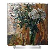 White Chrysanthemums Shower Curtain
