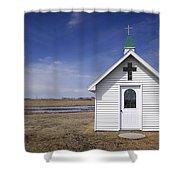 White Church Chapel  On Prairie Shower Curtain