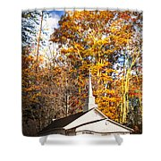 White Church In Autumn Shower Curtain
