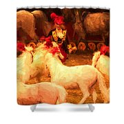White Circus Ponies Shower Curtain