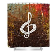 White Clef Shower Curtain