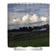 White Clouds Over The Farm Shower Curtain