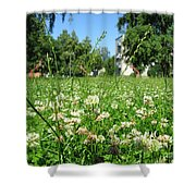 White Clover Field And The Playground Shower Curtain