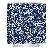 White Coral On Blue Pattern Shower Curtain