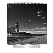 White Country Chuch And Road Shower Curtain