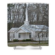 White Country Church Series Photo B Shower Curtain