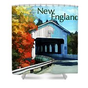 White Covered Bridge  Colorful Autumn New England Shower Curtain