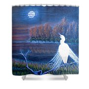 White Crane Dancing In The Light Of The Moon Shower Curtain
