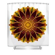 Deep Orange Marigold V Flower Mandala White Shower Curtain